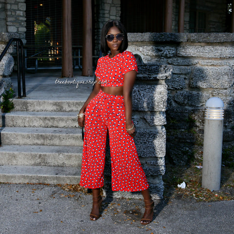 The Spring Charleston Culotte Pants Set (Red Peacock)