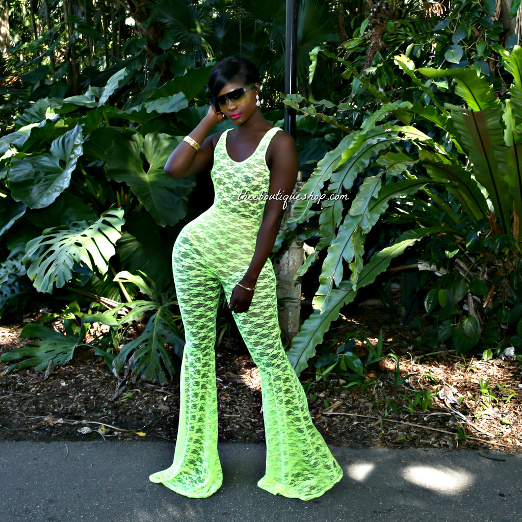 The Summer Lace Flare Jumpsuit (Neon Green)