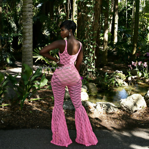 The Summer Lace Flare Jumpsuit (Neon Pink)