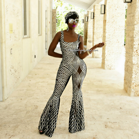 The Hollywood Imperial Sequined Flare Jumpsuit (Silver)