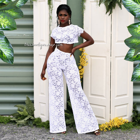 The Charleston Summer Lace Pants Set (White)