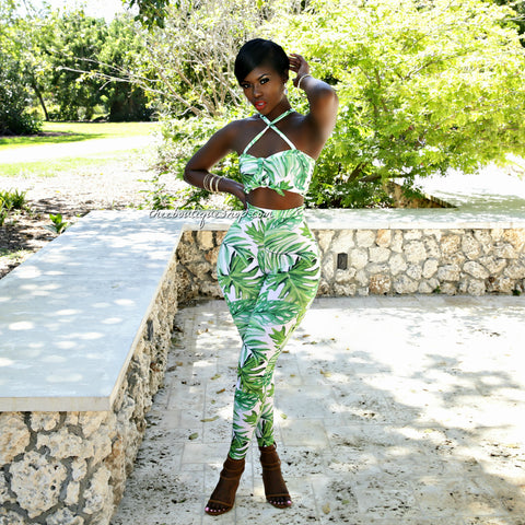 The Summer Royal Palm Leggings Set