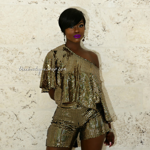 The Cairo Imperial Flare Shorts Set (Gold)