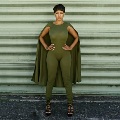 The Classic Capelet Jumpsuit (Olive)