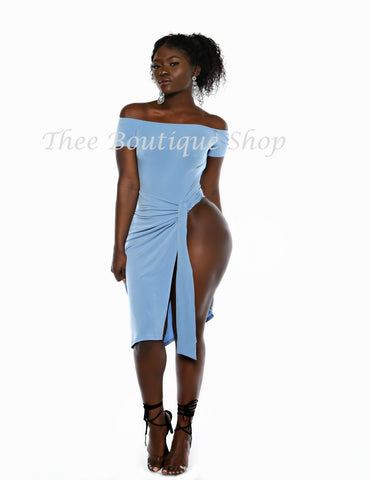 The Monroe Leotard Wrap Dress (Powder Blue)