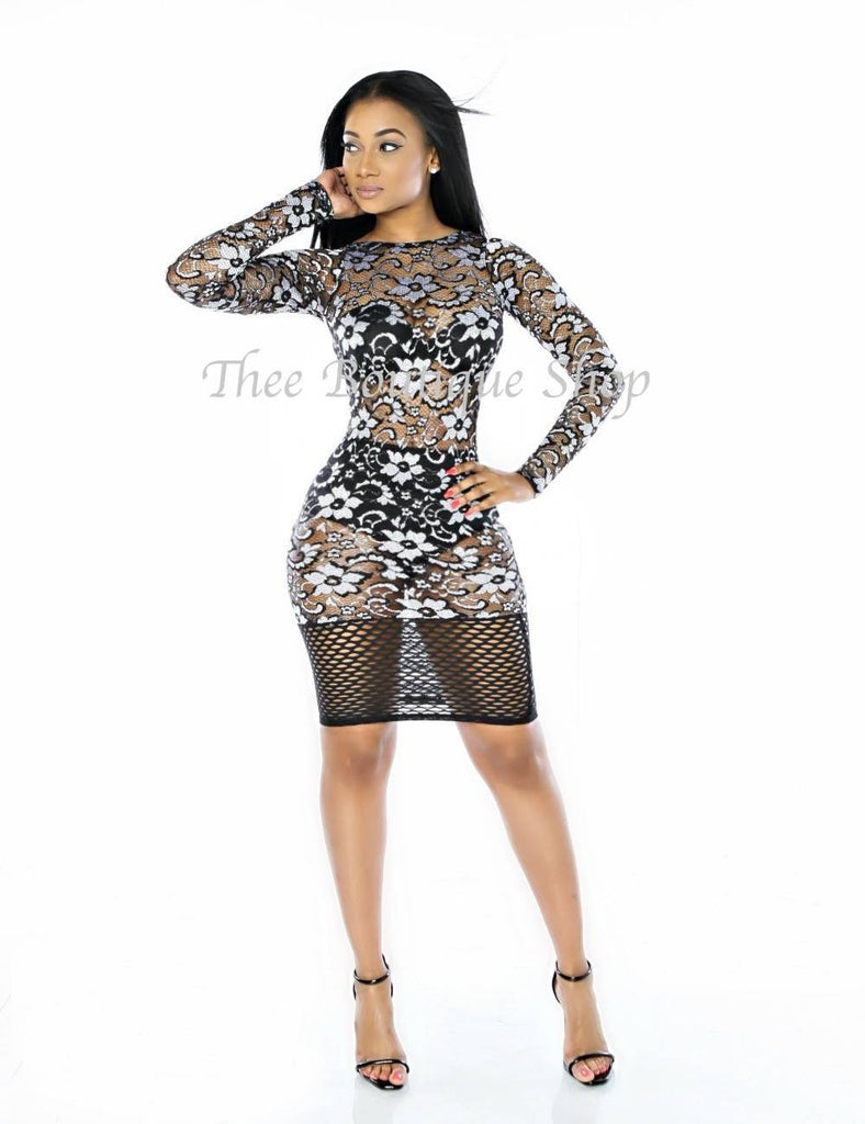 The Lace Fusions Dress (Silver)