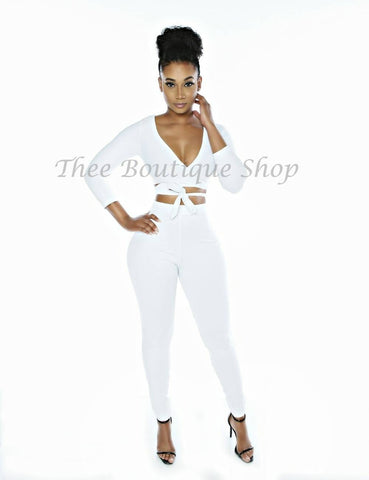 The Classic Wrap Leggings Set (White)