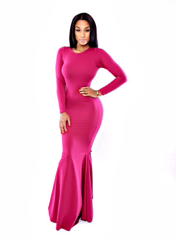 The Hollywood Mermaid Dress (Fuchsia)