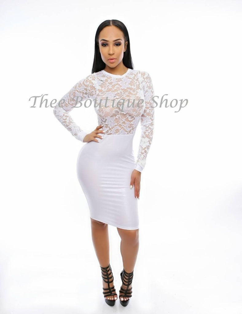 The Mirage Lace Illusions Dress (White)