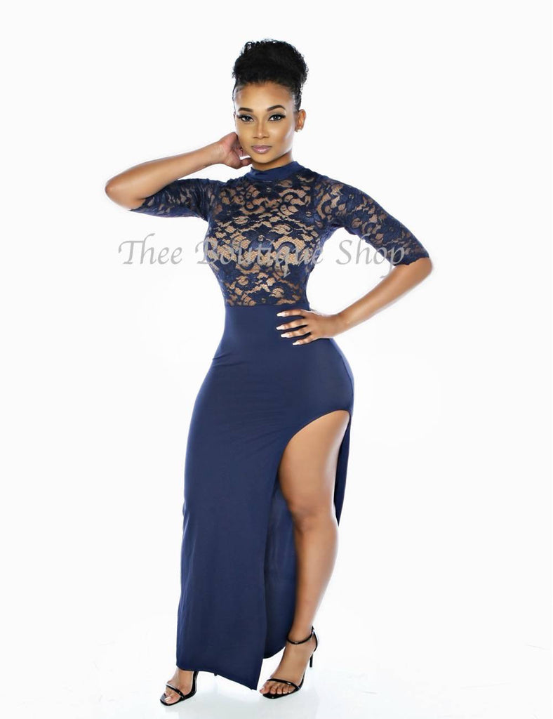 The Mirage Lace Illusions Maxi Dress (Navy)