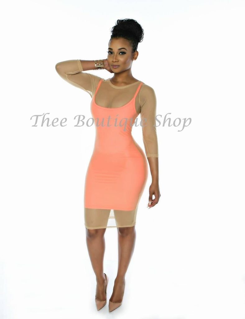 The Spring Double Mesh Dress (Nude/Coral)