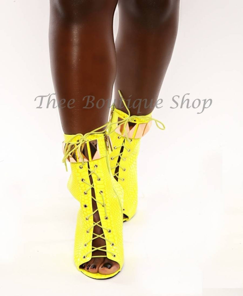 The Afiya'- Neon Snakeskin Booties - Thee Boutique Shop