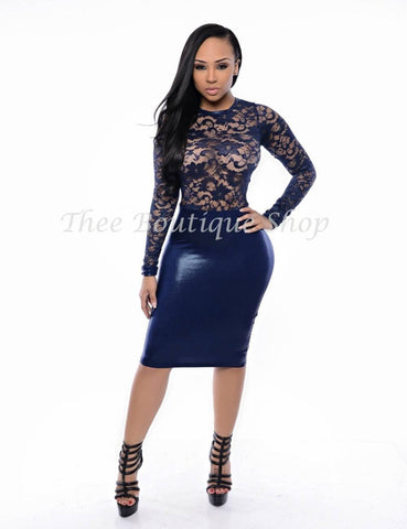 The Mirage Lace Illusions Dress (Navy)