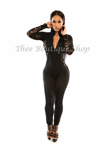 The Bombshell Lace Illusions Jumpsuit (Noir)