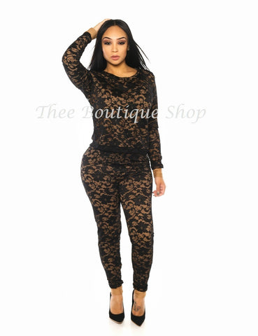The Dream Lace Illusions Joggers Set (Black)