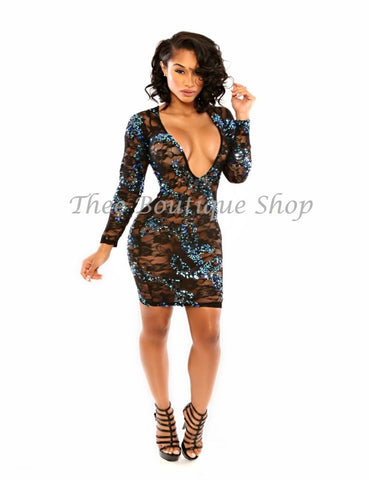 The New Years Lace Dress (Turquoise)