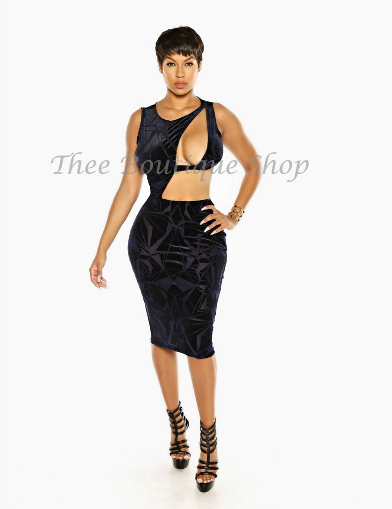 The Mosaic Plush Appeal Body-Con Dress (Navy)