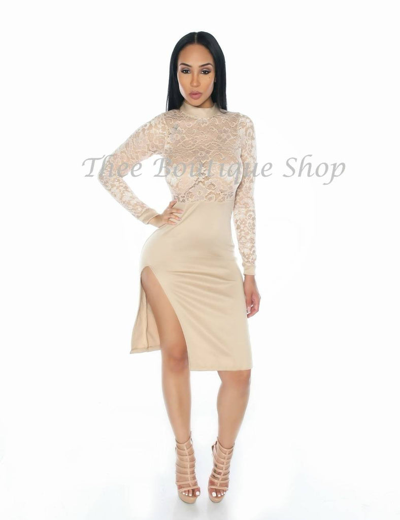 The Bella Sheer Illusions Dress (Nude) - Thee Boutique Shop