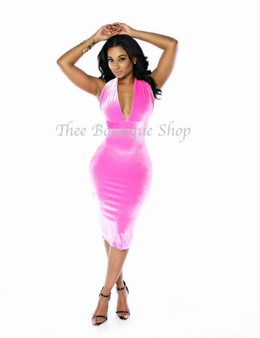 The Classic Plush Halter Dress (Hot Pink)