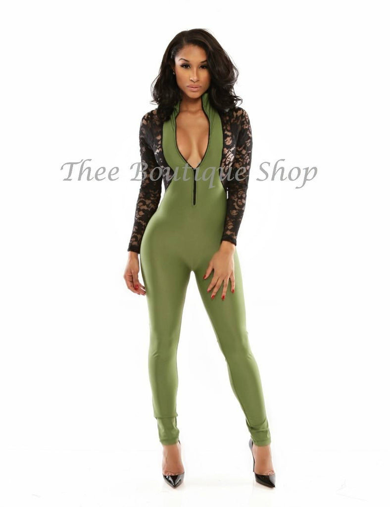 The Bombshell Lace Illusions Jumpsuit (Olive) - Thee Boutique Shop