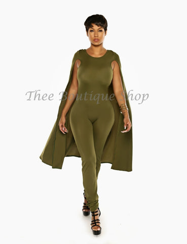The Classic Spring Capelet Jumpsuit (Olive)