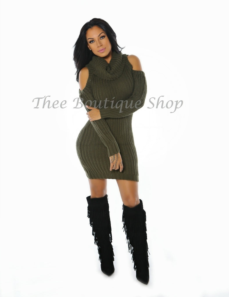 The Winter Cable Knit Dress (Olive)