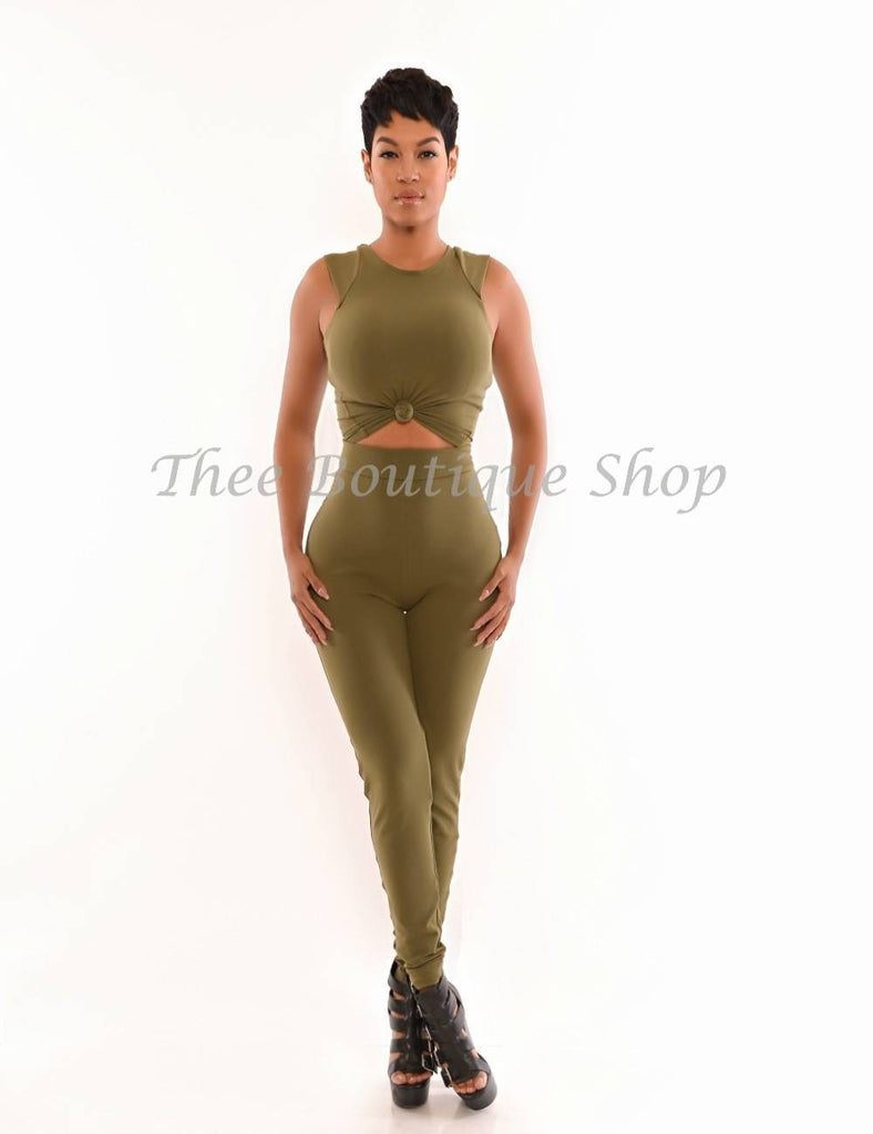 The Classic Tie Cropped Leggings Set (Army Green)