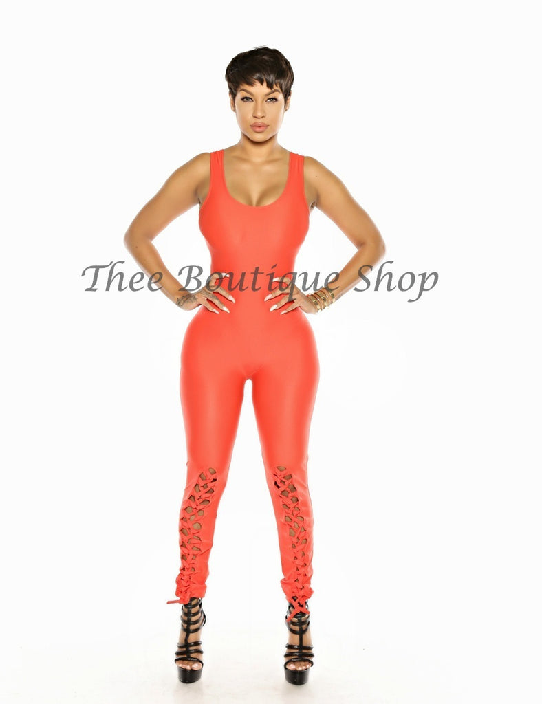 The Ibiza Lace Up Jumpsuit (Orange)