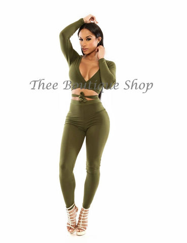 The Classic Wrap Leggings Set (Olive)
