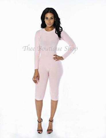 The Classic Capri Jumpsuit (Baby Pink)