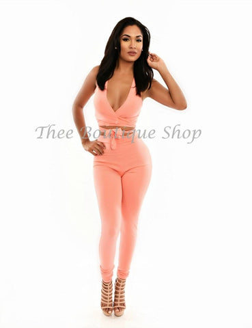 The Classic Wrap Leggings Set (Peach)
