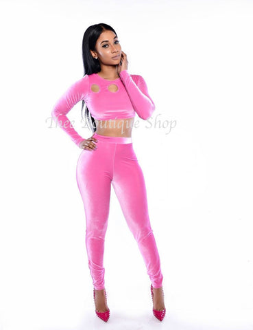 The Vancouver Plush Leggings Set (Pink)