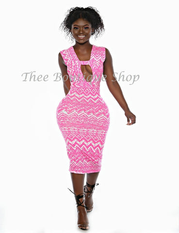 The Zuri Summer Bandage Dress (Neon Pink)