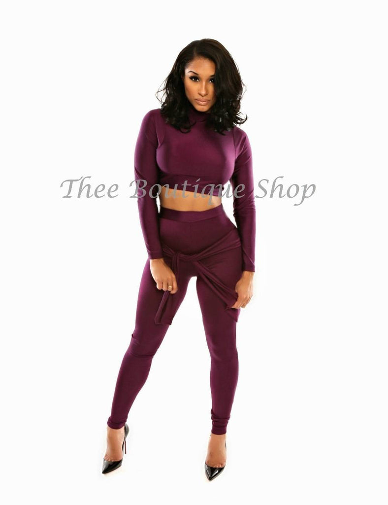 The Love Tie Leggings Set (Plum)