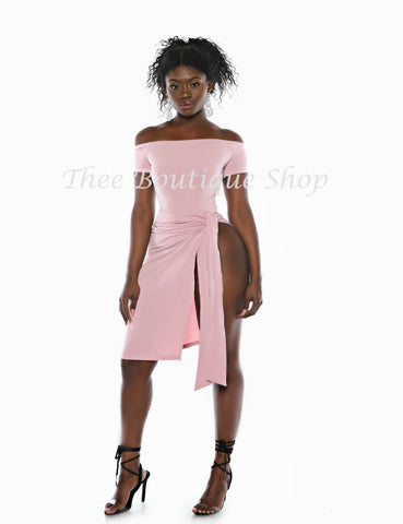 The Monroe Leotard Wrap Dress (Blush)