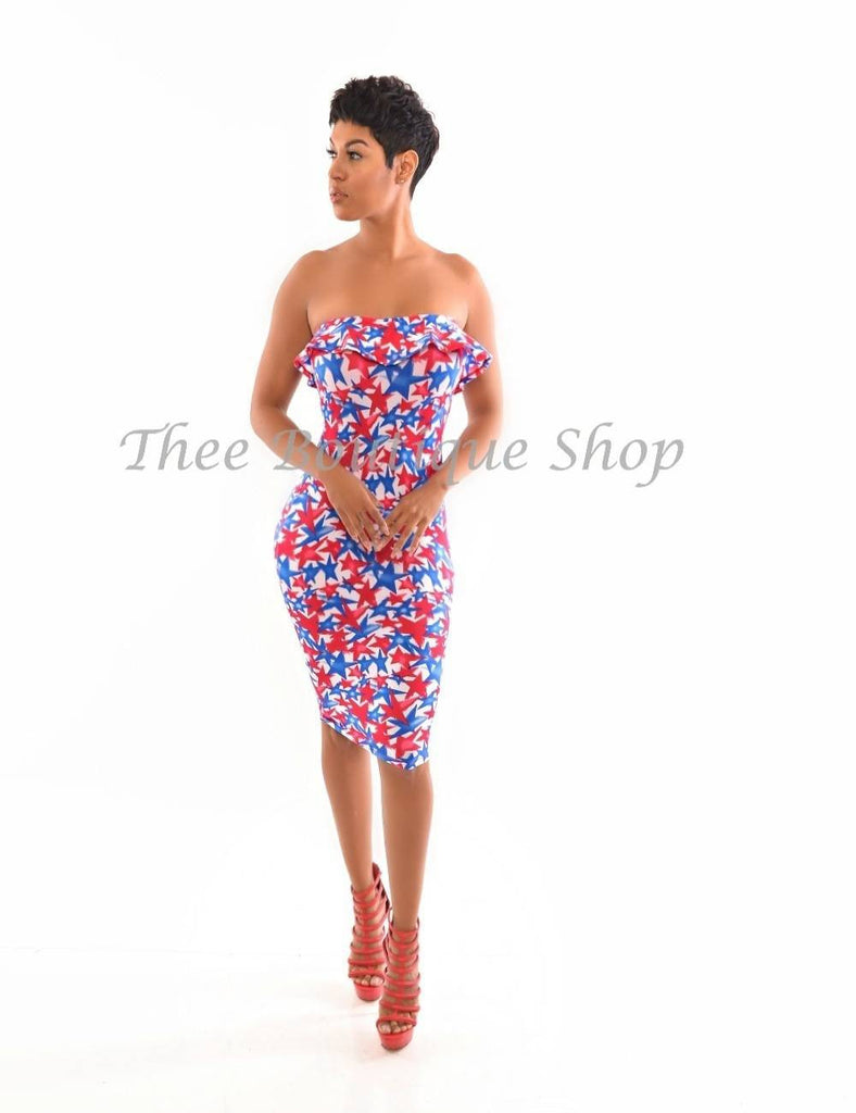 The Patriotic Star Peplum Dress