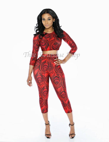 The Arabian Tribal Capri Set (Rouge')