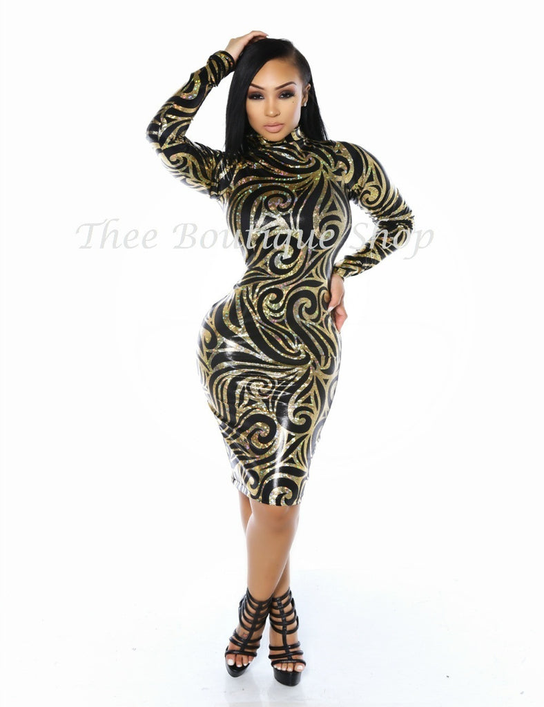 The Regal Hieroglyphics Dress (Black)