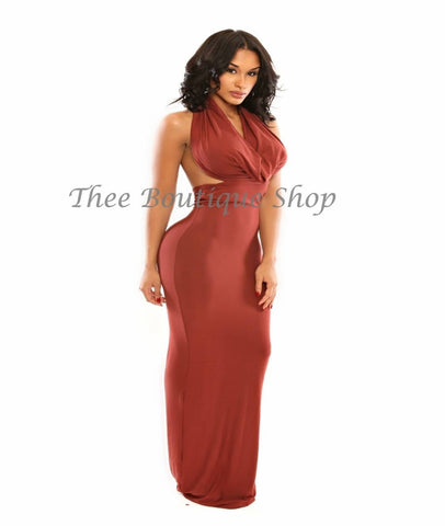 The Resort Versatile Halter Maxi Dress (Rust)