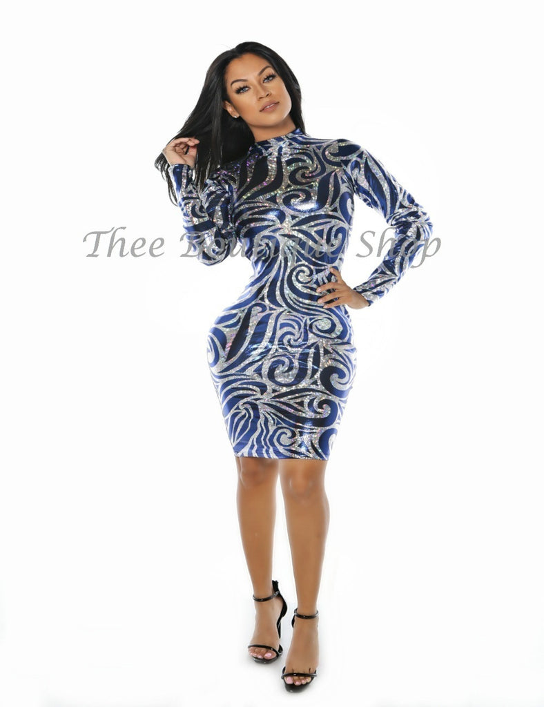 The Regal Hieroglyphics Dress (Blue)