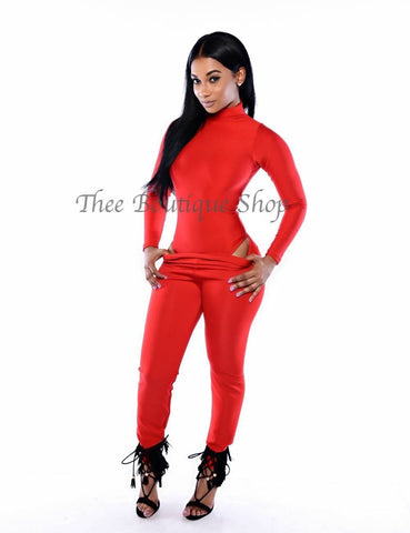 The Mystique Bodysuit Joggers Set (Rouge)