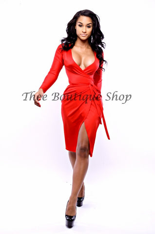 The Ruby Woo Wrap Dress (Midi)