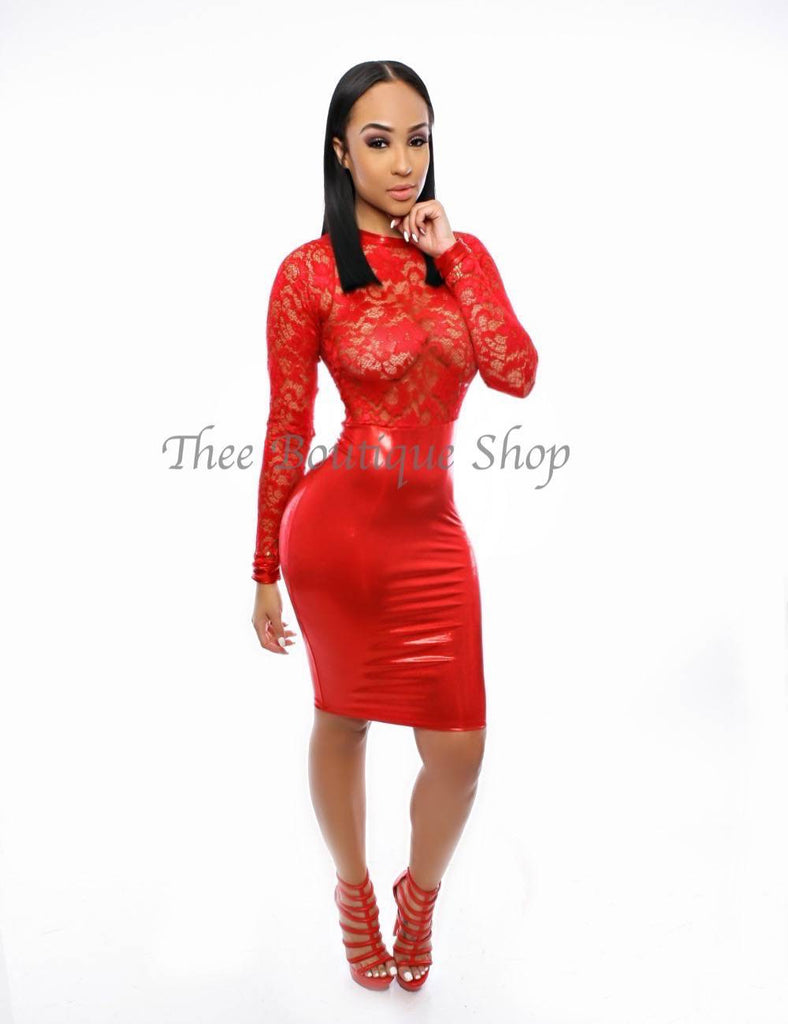 The Mirage Lace Illusions Dress (Rouge)