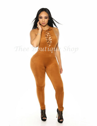 The Classic Fall Lace Up Jumpsuit (Rust)
