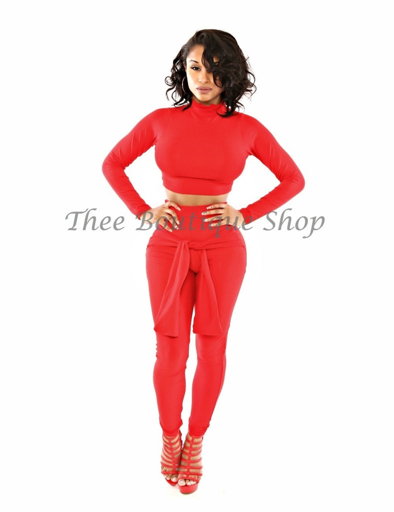 The Love Tie Leggings Set (Red)