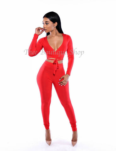 The Classic Wrap Leggings Set (Rouge)