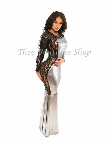 The Harlequin Xtreme Mermaid Dress (Silver)