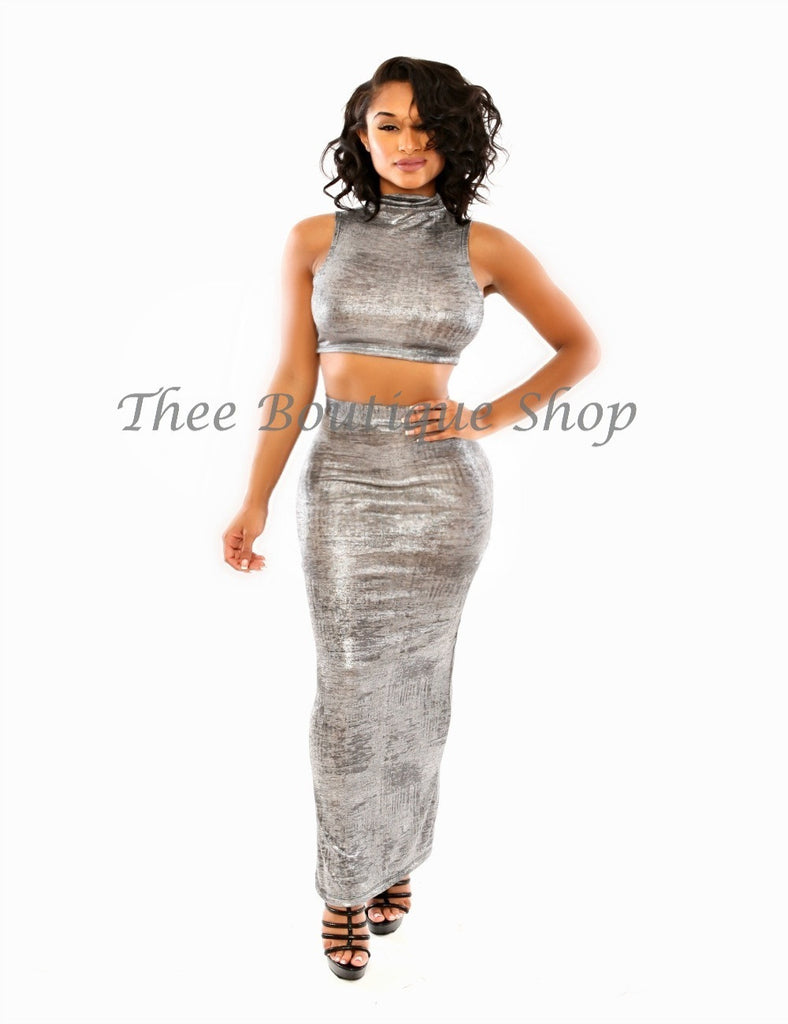 The Metallic Silver Knit Maxi Set