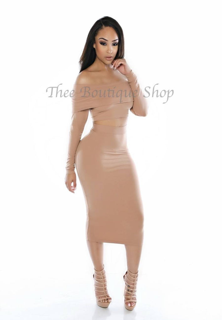 The Classic Off The Shoulder Midi Set (Nude)