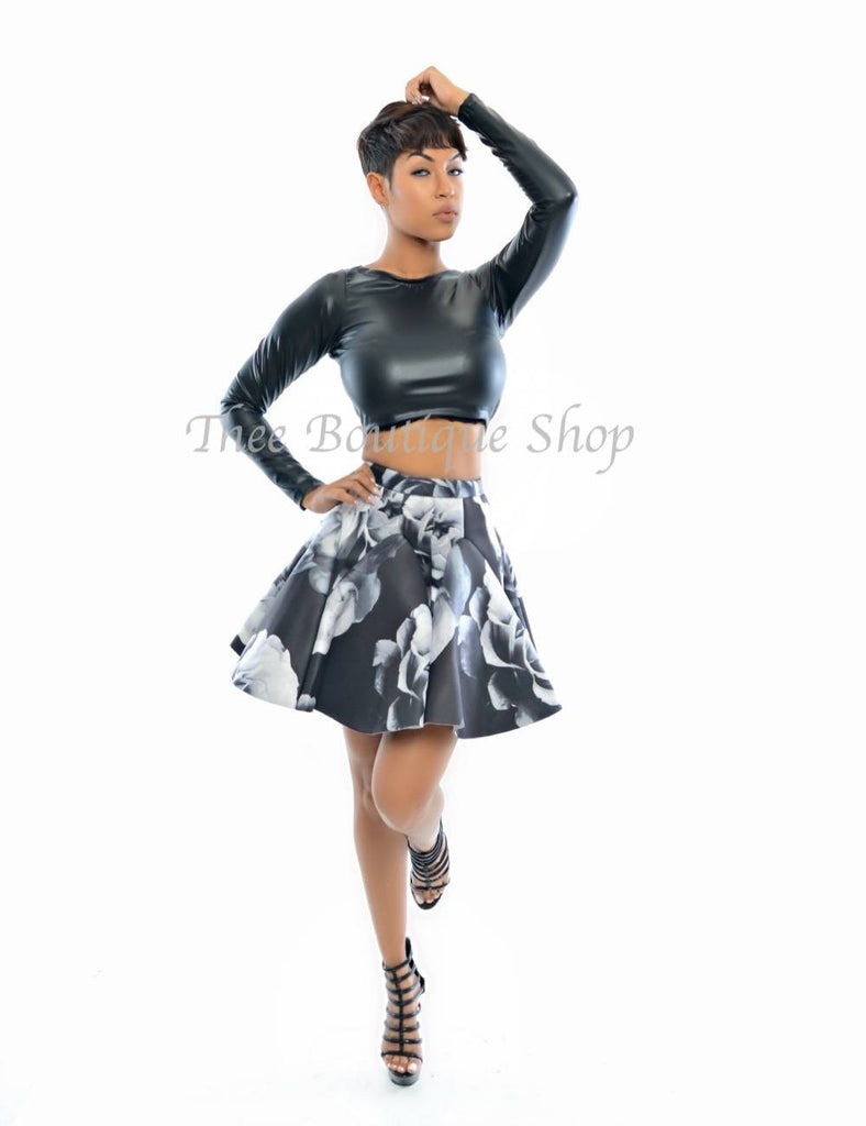 The Ashe Rose Flare Skirt - Thee Boutique Shop
